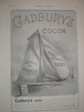 Cadbury's cocoa Staying and Bracing yachting art advert 1902