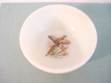 Vintage 50's Fire King RING-NECKED PHEASANT White Chile Oatmeal Bowl Oven Ware