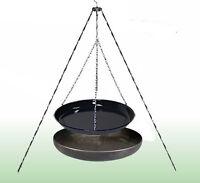 Grillkomplettpaket: Feuerschale, Dreibein, Grillfpanne, Grillrost, Grillzange
