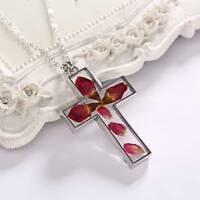 Fashion Natural Real Dried Flower Cross Glass Pendant Necklace Women Jewelry