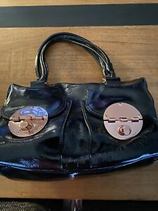 Mimco Patent Leather TurnLock bag, Black Leather + Rose Gold  New RRP $499
