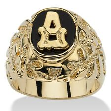 14K GOLD ONYX LETTER A INITIAL NUGGET RING SIZE GP 8 9 10 11 12 13