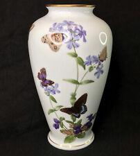 """11"""" FRANKLIN PORCELAIN - The Meadowland Butterfly Vase by John Wilkinson 1981"""