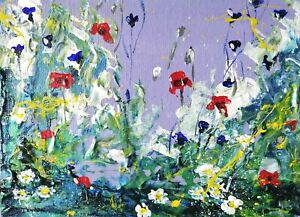 "ORIGINAL  PAINTING canvas mounted wild flowers poppies  12""X10"" Marilyn Allis"