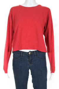 Burberrys Womens Cashmere Long Sleeve Scoop Neck Sweater Red Size Small