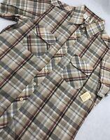 Alfie California Short Sleeve Button Up Hipster Plaid Shirt Mens L Vintage NWT