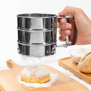 Stainless Steel Flour Sieve Kitchen Fine Mesh Oil Strainer Sifter Sugar