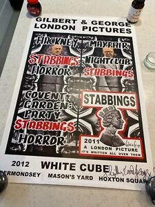 """Gilbert and George Signed Poster """"Stabbings"""""""