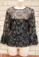 DOROTHY PERKINS GOLD BLACK FLORAL LACE FLARE SLEEVE PARTY BLOUSE T SHIRT TOP 12