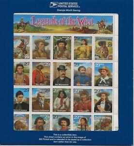 1994 29 cent Recalled Legends sheet in blue envelope Scott #2870, Mint NH