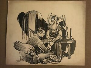 ORIGINAL 1924 Austin Jewell Pen & Ink THE MAN FROM MOROCCO Serial Illustration 3