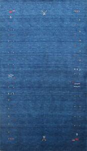 Contemporary Abstract Blue Gabbeh Oriental Area Rug Living Room Handmade 7x10