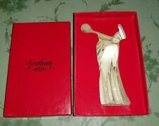 Gorham Crystal Nativity Figurine Angel with gold trumpet SUPER RARE HTF C653 BOX