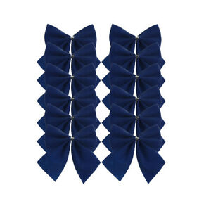 12 x Navy Bow Christmas Decorations 6cm (Tie on)