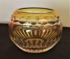 Vtg Faberge Signed Amber & Clear Crystal Bowl Votive Candle Holder