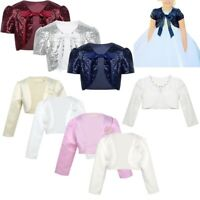 Girls Satin Long Sleeve Bolero Shrug Jacket Kids Party Dress Short Cardigan Top
