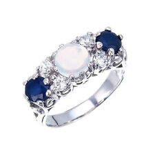 ART NOUVEAU INSPIRED WHITE GILSON OPAL AND SAPPHIRE TRILOGY RING 925 SILVER 8