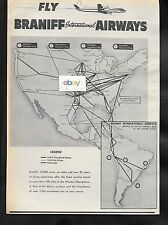 BRANIFF INTERNATIONAL1959 LOCKHEED ELECTRA ROUTE MAP OAG GUIDE AD