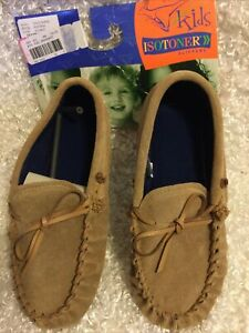 Kids ISOTONER Mocassin Slippers~Sz. X-Large (4-5)~Natural~New!