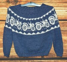 Hand knit Blue Wool Norway sweater Size 6-7