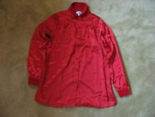 Pajama Jeans Women's XS Ruby Red Satin Velour Button-Up Dress Shirt Top