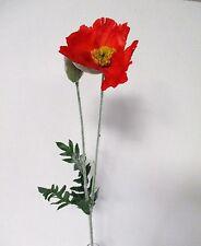 3 X 95cm Tallos Artificial Grande Color Rojo Amapola-recuerdo Flor-amapolas
