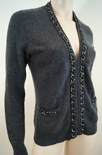 CASHMERE BY BLOOMINGDALES Grey Cashmere Silver Tone & Ribbon V Neck Cardigan S