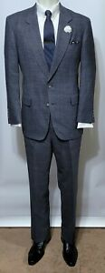 Hart Schaffner Marx Silver Trumpeter Custom  Glen Plaid  2 Pc Wool Gray Suit 41R