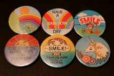 Lot Of Six(6) Vintage 2.25 Inch Pin Back Buttons Inspirational Theme Nos 1980's