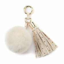 JUICY COUTURE faux fur Pom-Pom Studded tassel Key Chain blue pink gray white