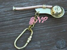 Nautical Antique Brass Boatswain'S Pipe Bosun Whistle 3 inch Key Chain