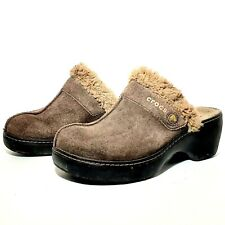 Crocs Womens Mule Style Clogs 11602 Brown Suede Faux Fur Lined Slip-Ons Size 6