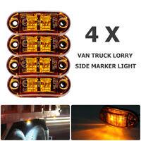 4x 2 LED Side Marker Light Signal Amber Lamp Car Truck Van Trailer Boats 12V/24V