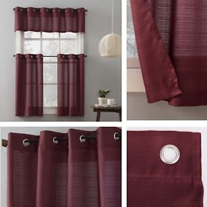 New, Elevated Solid 3 Piece Kitchen Curtain Set. Free Shipping.