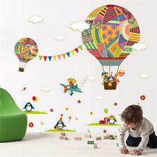Colorful Air Balloon Bear Giraffe Nursery Room wall sticker Kids Room Decal