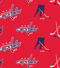 NHL HOCKEY WASHINGTON CAPITALS AO FLEECE FABRIC MATERIAL BY THE 1/2 YARD CRAFTS