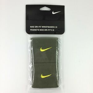Nike Dri-Fit Wristbands 2.0 Diagonal Knit Adult Unisex One Size Olive Green NEW