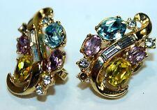 TRIFARI Glass Yellow & Blue stones Rhinestones Earrings Clip On Vintage pair