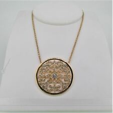 Touchstone Crystal by Swarovski Gold Plated Filigree Medallion Necklace