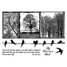 Crafty Individuals BIRDS ON A WIRE Unmounted Red Rubber Stamps