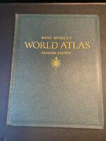 Vtg 1946 Rand Mcnally World Atlas Premier Edition - World & U.S. Maps