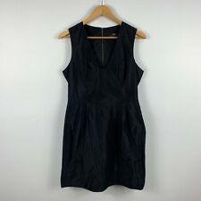 CUE Womens Dress Size 12 Black Sleeveless Zip Closure V-Neck