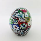 """Art Glass Paperweight Multi Color Millefiori Flower Cane Detail  3.25"""""""
