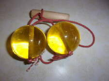 Yellow Lucite Click Clacks Clacker String Toy