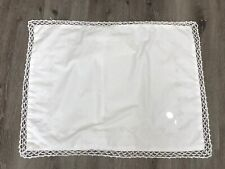 CROCHETED EDGE, EMBROIDERED SHAM, WHITE, COUNTRY, COTTAGE, SHABBY CHIC