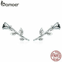 BAMOER Solid .925 Sterling Silver Stud Earrings Rose love For Women Jewelry