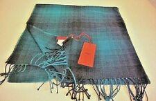 HUGO BOSS Plaid Wool Blend Scarf Men Z, Italy Aqua/Black with fringes, New