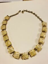 VINTAGE SIGNED CORO NECKLACE GOLD TONE CONFETTI LUCITE OPALESCENT 17""