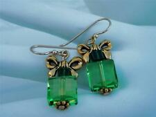 ~We Bieleve in Santa ~ Swarovski Element Earrings Gold Filled 14k Green Earrings