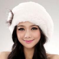 Winter Beret Fur Hat Women's Soft Warm Caps URSFUR Knit Rex Rabbit Fur Accessory